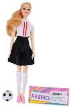Кукла-болельщица 29см, в черн..юбочке, 1 аксесс., шарнирн.