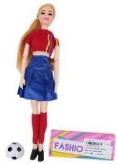 Кукла-болельщица 29см, в син.юбочке, 1 аксесс., шарнирн.