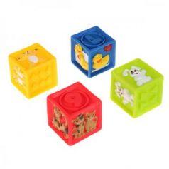 """Игрушки пластизоль для купания """"ИГРАЕМ ВМЕСТЕ"""" кубики с животными (4шт) в сетке в кор.4*24шт"""