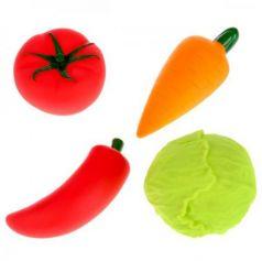 """Игрушки пластизоль д/купания """"Играем вместе"""" Овощи (капуста+морковь+томат+перец) в сетке в кор2*25шт"""