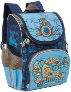 Рюкзак GRIZZLY RA-872-1/1 Череп (сине-голубой) с мешком для обуви