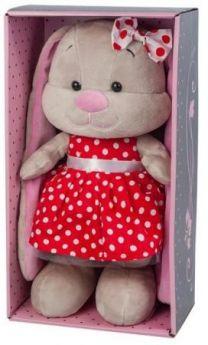 Мягкая игрушка заяц Jack Lin Зайка в Красном Платье 25 см искусственный мех трикотаж пластмасса