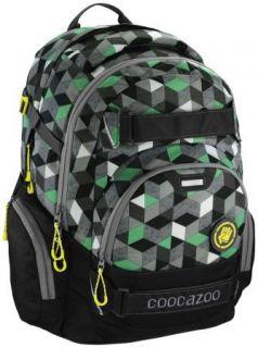 Школьный рюкзак светоотражающие материалы Coocazoo CarryLarry2: Crazy Cubes 30 л черный зеленый 00138744