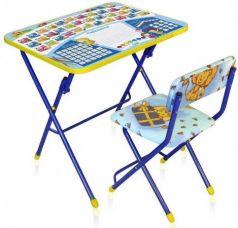 Комплект стол+стул Ника Умничка 1 Первоклашка синий фон