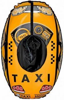 Санки надувные овальные Тюбинг МАШИНКА Taxi Snow жёлтая  автокамера