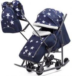 Коляска-санки PIKATE Звезды металл пластик ткань темно-синий