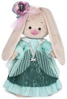"""Мягкая игрушка зайка BUDI BASA """"Зайка Ми-барышня в персидском зеленом"""" 25 см искусственный мех ткань"""