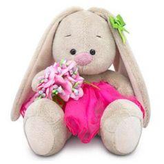 Мягкая игрушка зайка BUDI BASA Зайка Ми c букетом в розовой юбке 15 см искусственный мех