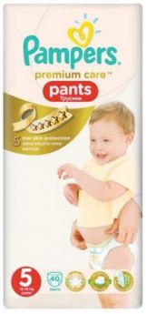 Подгузники-трусики КОМПЛЕКТ 40 шт., PAMPERS (Памперс) Premium Care Pants, размер 5 (12-18 кг), PA-81627475
