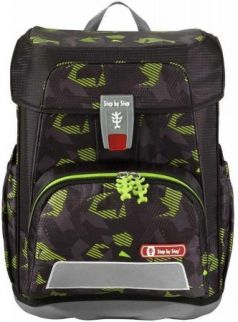 Ранец светоотражающие материалы Step by Step Cloud Black Cat 19 л зеленый черный