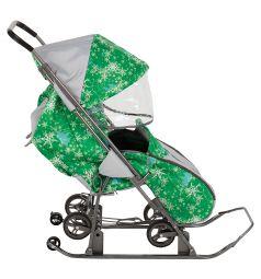 Санки-коляска Galaxy Снежинка Универсал, цвет: елки на зеленом