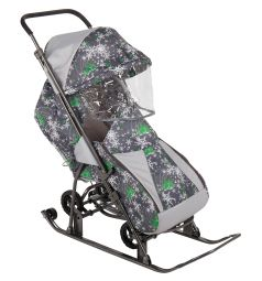 Санки-коляска Galaxy Снежинка Универсал, цвет: елки на сером