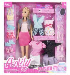 Игровой набор Anlily Кукла с аксессуарами (розовая юбка, серый жилет) 29 см