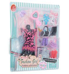 Одежда для кукол Игруша Черная юбка, розовая кофта, леопардовый принт 29 см