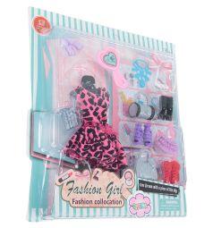 Одежда для кукол Игруша Розовое платье, леопардовый принт 29 см
