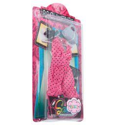 Одежда для кукол Игруша Fasion Coordinates Розовое платье в черный горошек 29 см