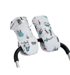 Муфты-варежки Leokid для коляски Cute park, цвет: серый/белый