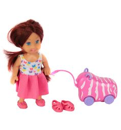 Игровой набор Игруша Кукла с розовым чемоданом 11 см
