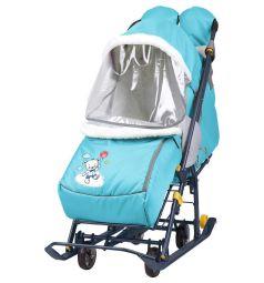 Санки-коляска Ника Наши детки, цвет: голубой/медвежонок