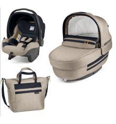 Набор для трансформации Peg-Perego Люлька Navetta Elite + автокресло Primo Viaggio Tri-Fix + сумка Borsa, цвет: luxe ecru