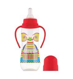 Бутылочка Lubby Русские мотивы с соской полипропилен с рождения, 240 мл, цвет: красный