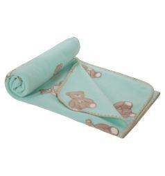 Плед Зайка Моя Мишка с бантиком 100 х 140 см, цвет: бирюзовый
