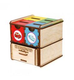 Развивающая игрушка Woodland Комодик-куб Транспорт, 10 х 10 см