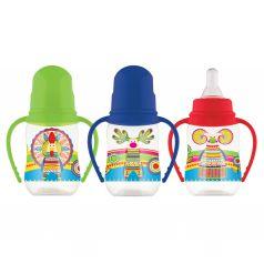 Бутылочка Lubby Малыши и Малышки для кормления полипропилен с рождения, 125 мл, цвет: зеленый
