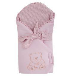 Leader Kids Конверт-одеяло Мишка с сердцем, цвет: розовый