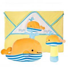 Подарочный набор Жирафики Веселый кит (полотенце, погремушка, подушка)