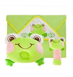 Подарочный набор Жирафики Забавный лягушонок (полотенце, погремушка, подушка)