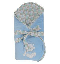 Leader Kids Конверт-одеяло Мишка со звездой, цвет: голубой