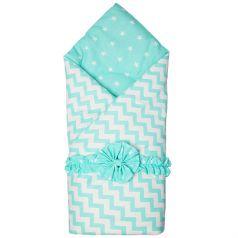 Funecotex Конверт-одеяло Зигзаги, цвет: белый/зеленый