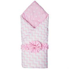 Funecotex Конверт-одеяло Зигзаги, цвет: белый/розовый