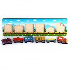 Пазл-рамка Нескучные игры Паровозик с вагончиками