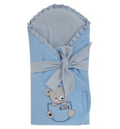 Leader Kids Конверт-одеяло Мишка в кармане, цвет: голубой