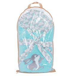 Leader Kids Конверт-одеяло Зайка с бабочкой, цвет: ментол