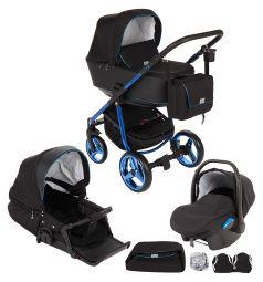 Коляска 3 в 1 Adamex Reggio Special Edition, цвет: синий/черный