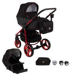 Коляска 3 в 1 Adamex Reggio Special Edition, цвет: красный/черный
