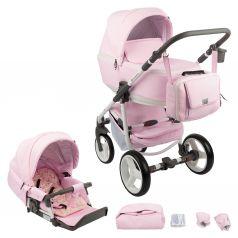Коляска 2 в 1 Adamex Reggio Eco, цвет: кожа розовая
