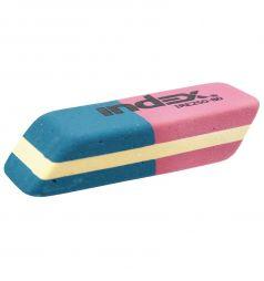Ластик каучук Index для карандашей и чернил красно-синий