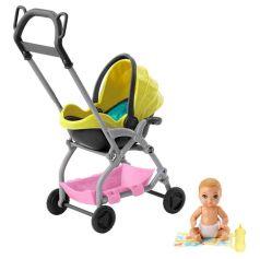 Игровой набор Barbie Игра с малышом малыш и желтая коляска 7 см