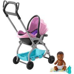 Игровой набор Barbie Игра с малышом малыш и сиреневая коляска 7 см