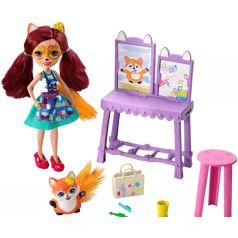 Игровой набор Enchantimals Кукла со зверюшкой Художественная студия 15 см