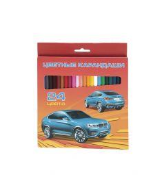 Цветные карандаши Hatber Автопанорама 24 цвета