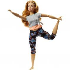 Кукла Barbie Безграничные движения Шатенка в серой футболке