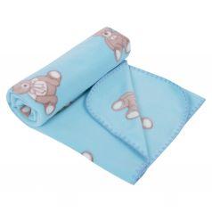 Плед Зайка Моя Мишка с бантиком 100 х 140 см, цвет: голубой