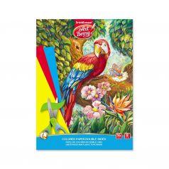 Бумага А4 16л ArtBerry цветная двусторонняя в папке Попугай