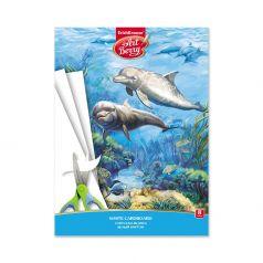 Картон А4 8 ArtBerry Подводный мир белый мелованный в папке Дельфин
