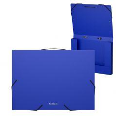 Папка А4 Erich Krause Classic на резинках пластиковая синяя